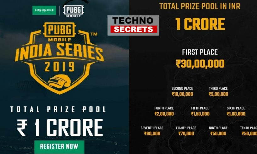 PUBG Mobile tournament Sponsor By Oppo With An Rs. 1 Crore Prize.